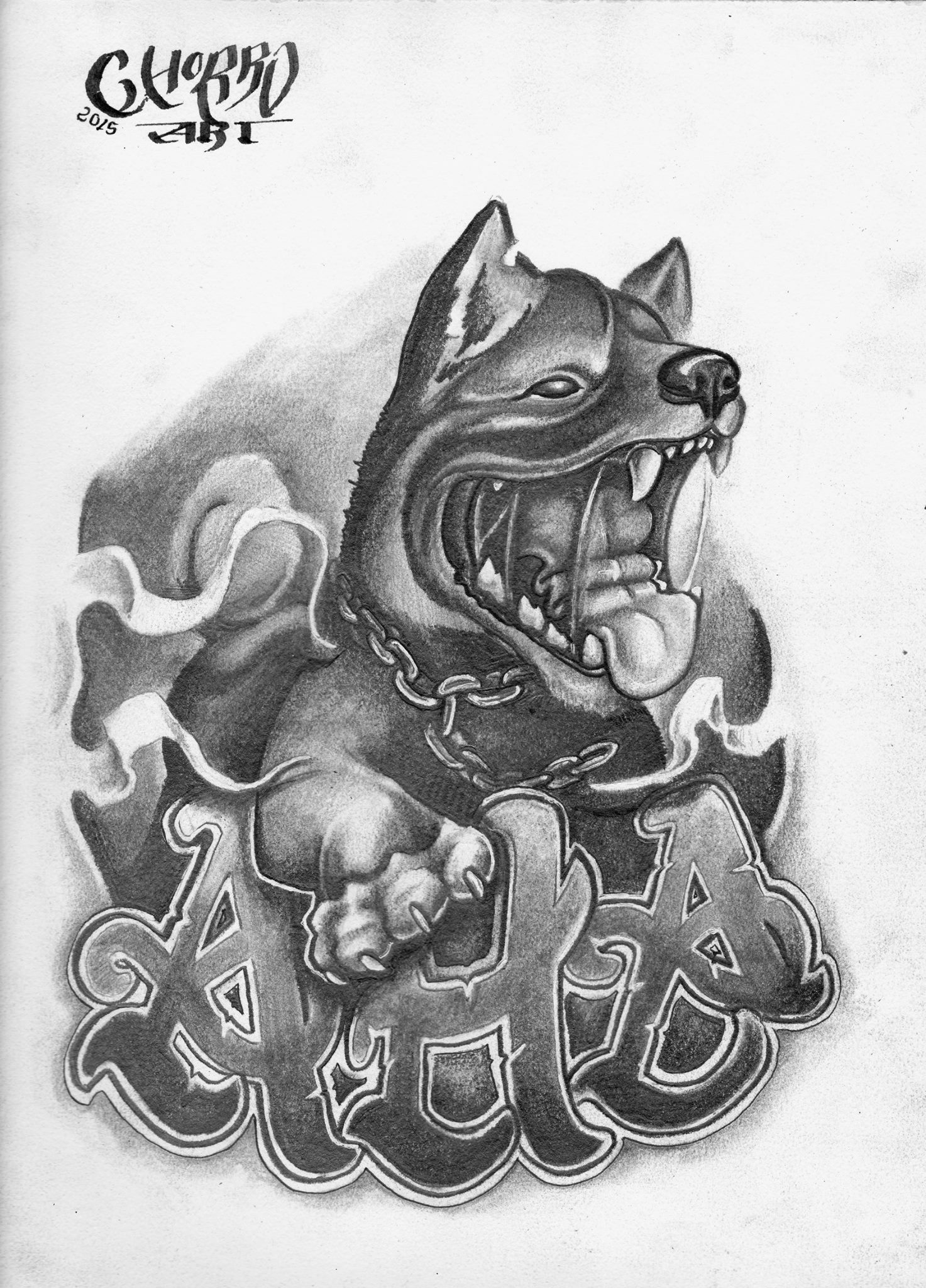 perro tattoo new school blanco y negro palencia
