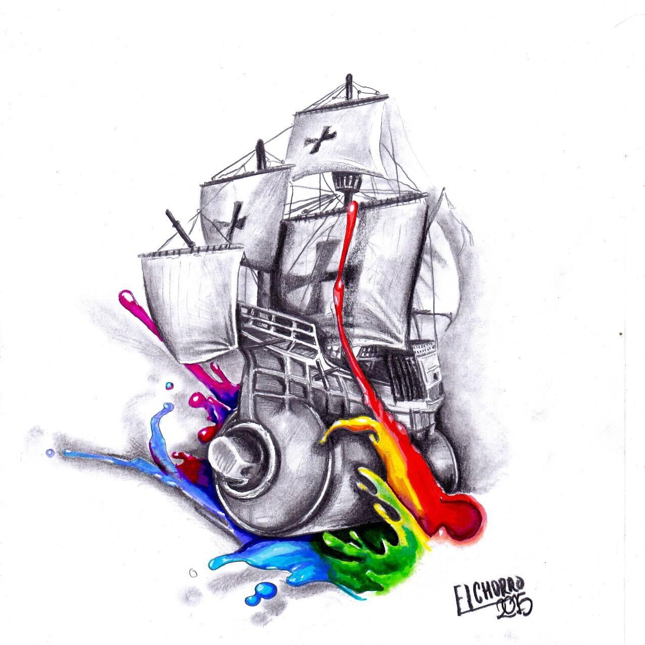 barco vandal spray tattoo graffiti tatuajes palencia watercolor