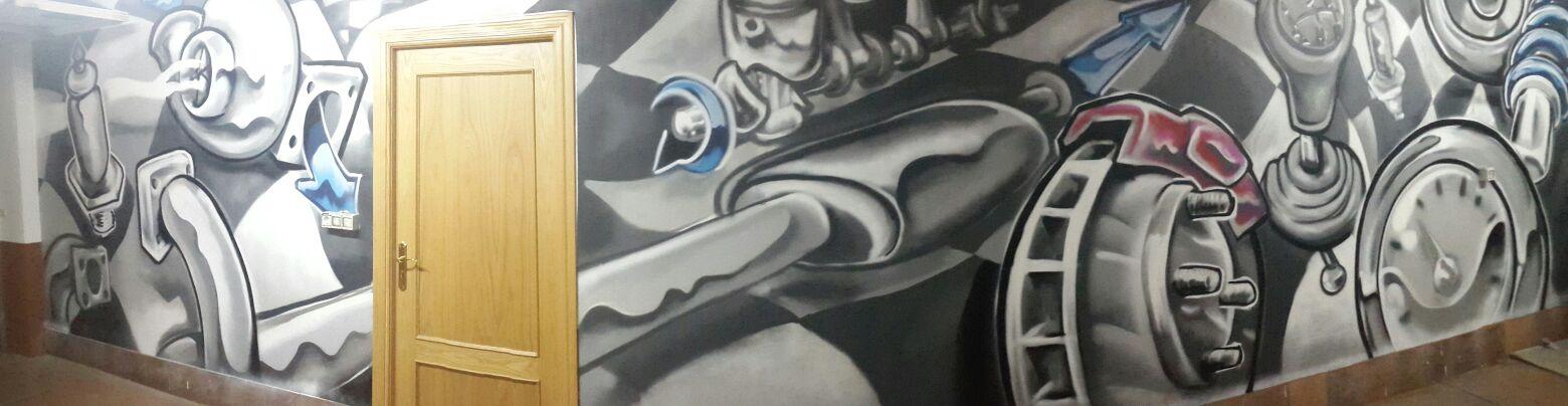 garaje decoración palencia grafiti mural