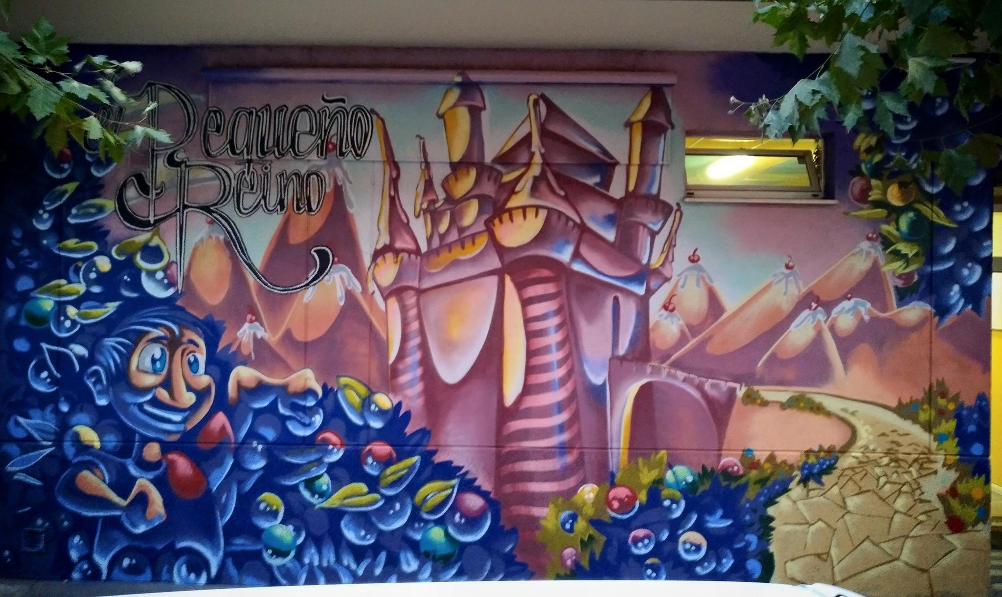 graffiti mural negocio niños palencia