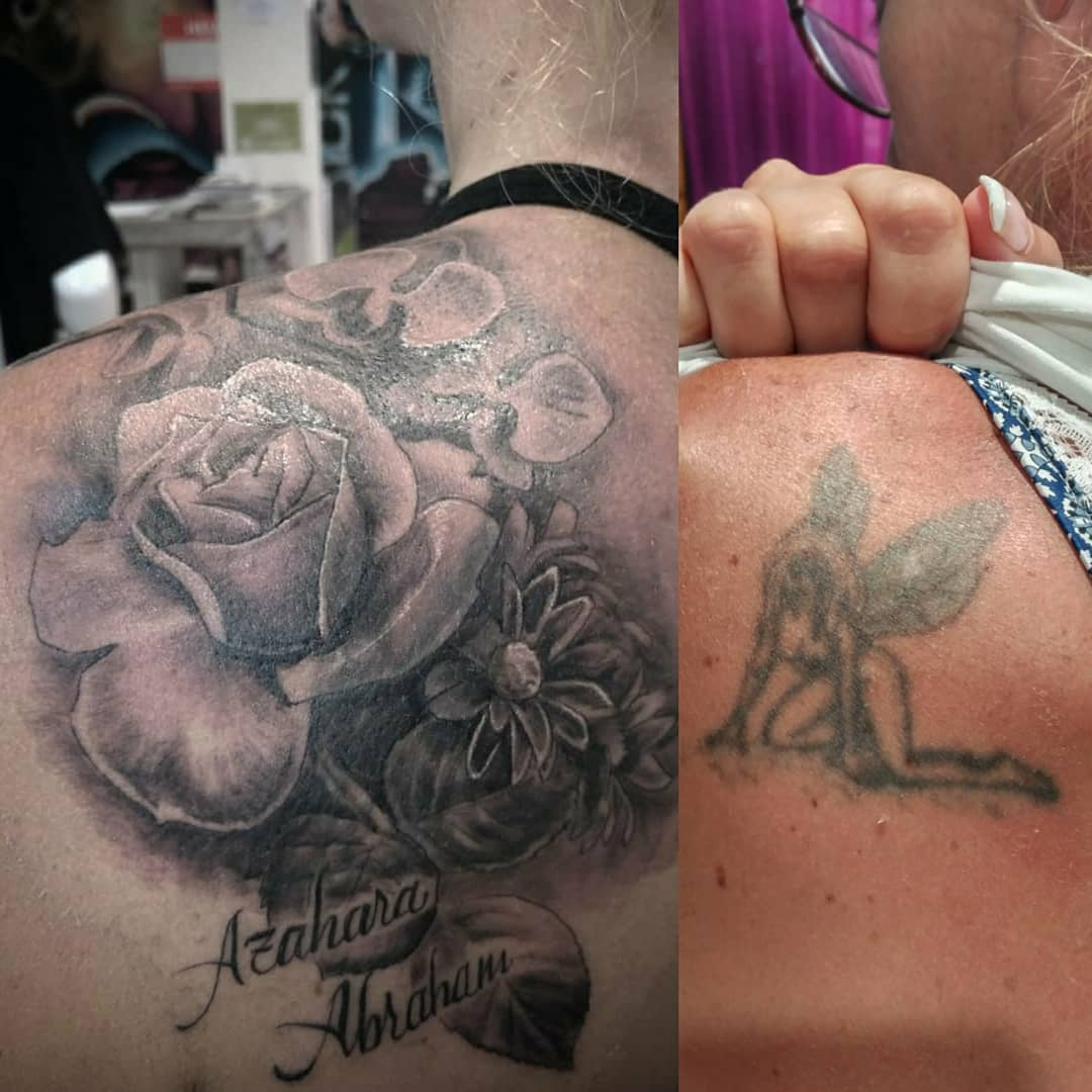 cover up flores tatuaje tattoo palencia