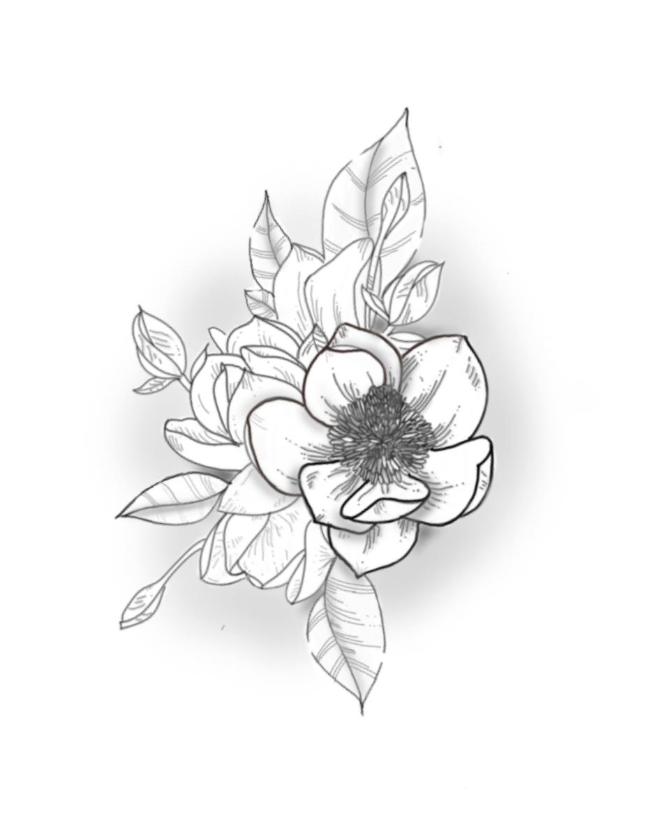 magnoklia flor bonita tatuaje temporal