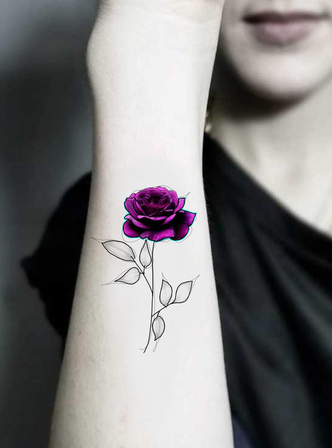tatuaje temporal rosa